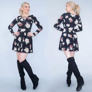 Long Sleeve Floral Pattern Dress